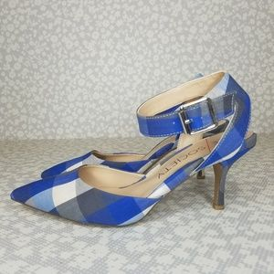 Sole Society OLYVIA Blue Gingham Ankle Strap Heel